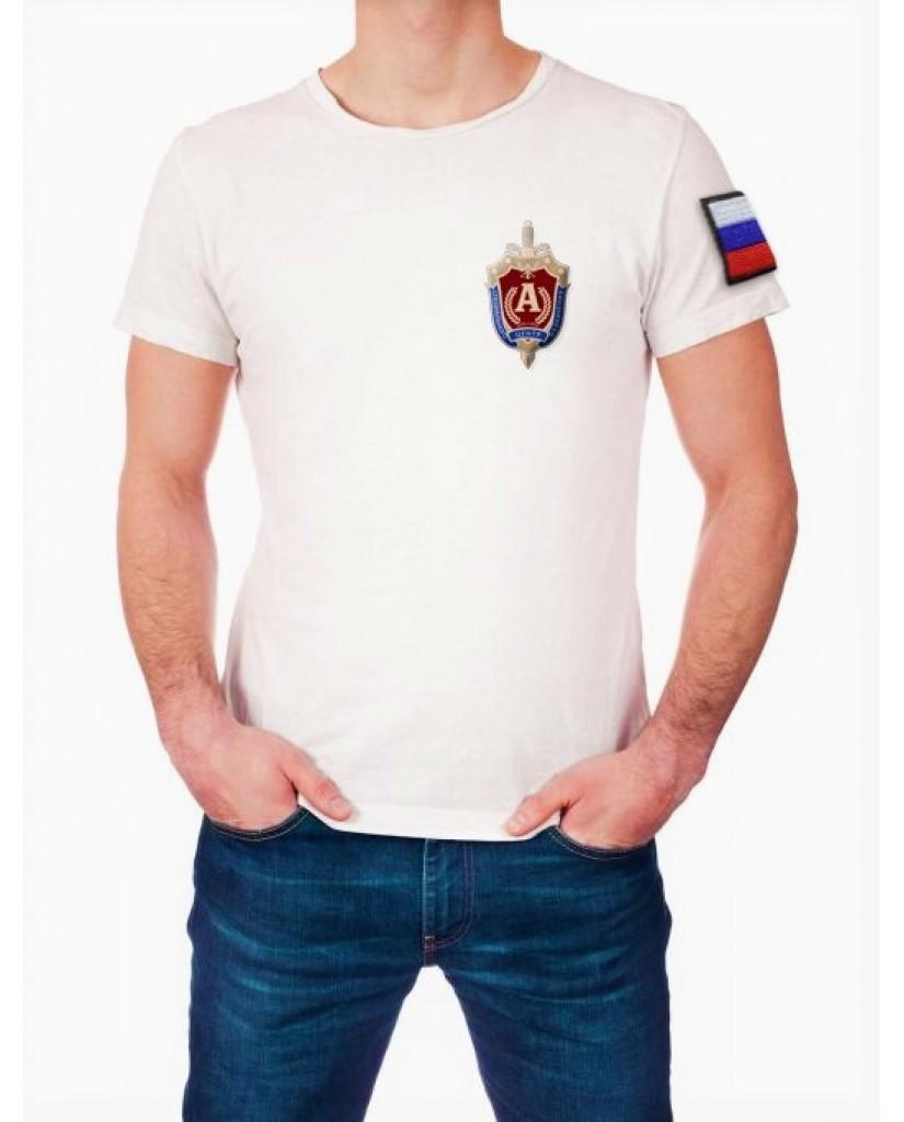 Футболка белая Альфа (вышивка)