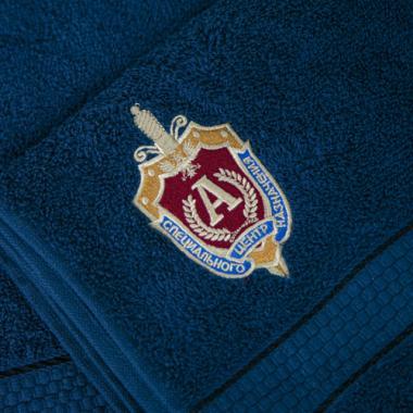 """Полотенце-набор """"Альфа"""" вышивка, синий"""