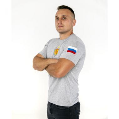 "Футболка ""ФСБ РОССИИ"", вышивка, меланж"