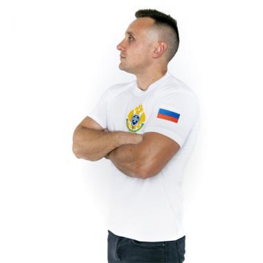 """Футболка """"Пограничная служба ФСБ России"""" белая (вышивка)"""